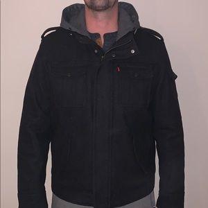 Levis Wool Full Zip Military Jacket